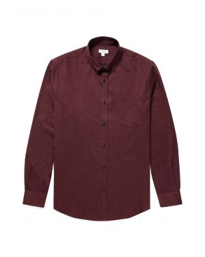 Men's Brushed Flannel Button-Down Shirt in Maroon