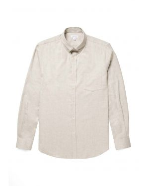 Men's Brushed Flannel Button-Down Shirt in Archive White Melange