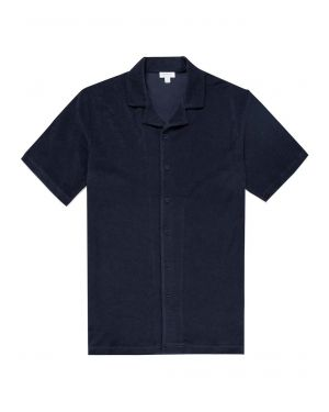 Men's Organic Cotton Towelling Camp Collar Shirt in Navy