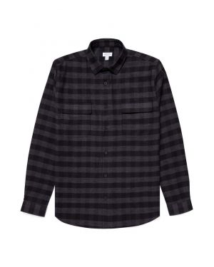 Men's Cotton Twill Overshirt in Black Buffalo Check