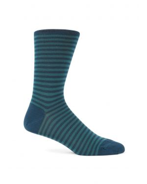 Men's Mercerised Cotton Stripe Socks in Samphire / Sea Green