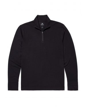 Men's Superfine Wool Zip Neck Base Layer in Black