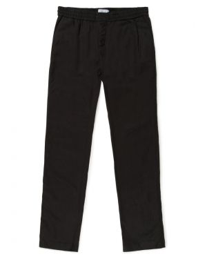 Men's Linen Blend Drawstring Trousers in Black