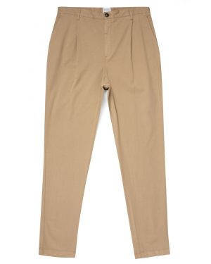 Men's Cotton Drill Relaxed Fit Pleat Trouser in Stone