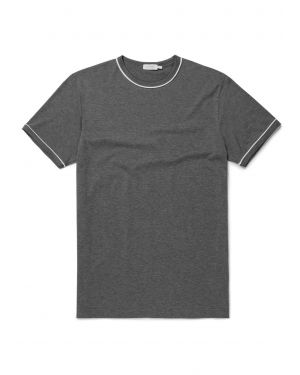 Men's Cotton T-Shirt Piped Trim in Charcoal Melange