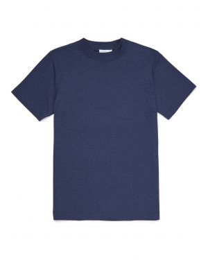 Men's Brushed Cotton Mock Turtle T-Shirt in Navy