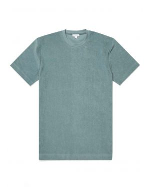 Men's Organic Cotton Towelling Relaxed Fit T-Shirt in Sage
