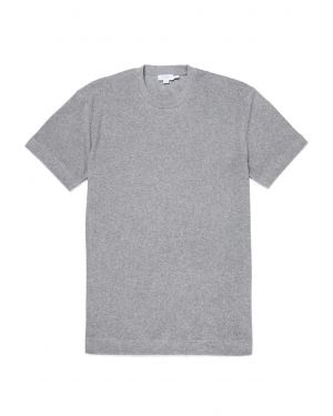 Men's Organic Cotton Towelling Relaxed Fit T-Shirt in Grey Melange