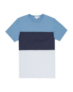 Men's Classic Cotton Colourblock T-Shirt in Airforce Blue