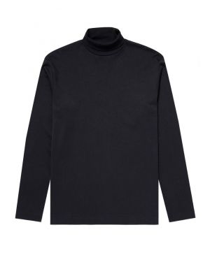 Men's Brushed Cotton Long Sleeve Turtle Neck in Black