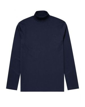 Men's Brushed Cotton Long Sleeve Turtle Neck in Navy
