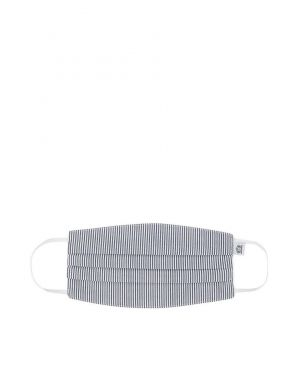 Sunspel Cotton Face Mask in White/Navy/Light Blue Pinstripe
