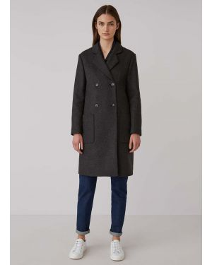 Women's Wool Cashmere Double Breasted Polo Coat in Charcoal Melange