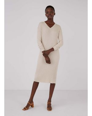 Women's Cotton Knit Wide Rib V-Neck Dress in Putty