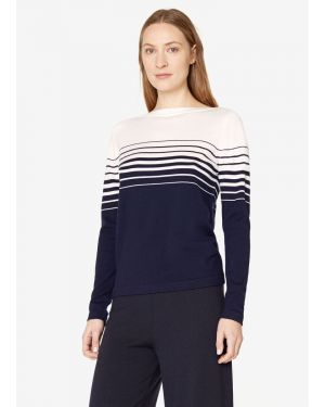 Women's Fine Merino Wool Graduated Stripe Jumper in Navy