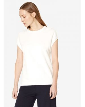 Women's Cotton Piqué Sleeveless Top in Off White