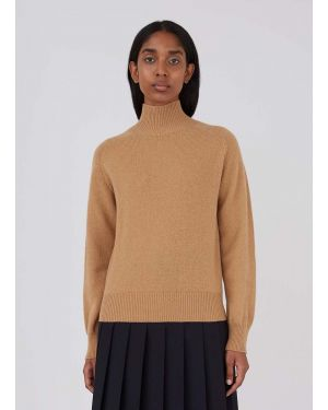 Women's Lambswool Funnel Neck Jumper in Camel