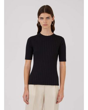 Women's Cotton Knit Wide Rib Mid Sleeve T-Shirt in Black