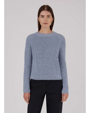 Women's Cotton Rib Boxy Jumper in Blue Twist