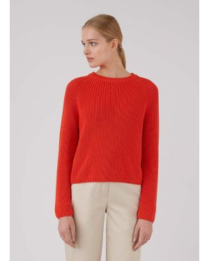 Women's Cotton Rib Boxy Jumper in Booth Red