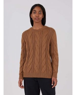 Womens Oversized Cable Knit Jumper in Nutmeg