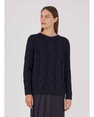 Womens Oversized Cable Knit Jumper in Navy