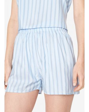Women's Silk Boxer Shorts in Blue Stripe