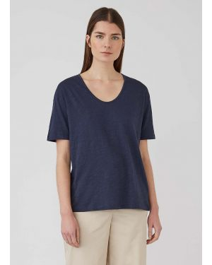 Women's Cotton Linen Relaxed Fit U-Neck T-Shirt in Navy