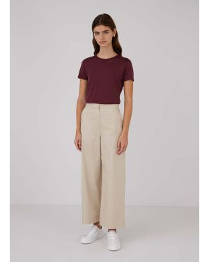 Women's Cotton Twill Wide Leg Trouser in Stone
