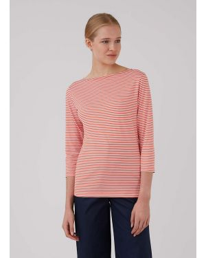Women's Cotton Boat Neck T-Shirt in Booth Red/White English Stripe