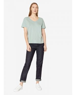 Women's Cotton Relaxed Scoop Neck T-Shirt in Mint