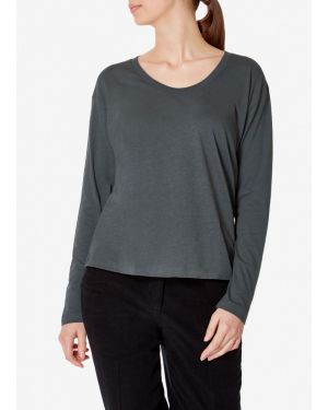 Women's Cotton Long Sleeve Relaxed Scoop Neck T-Shirt in Lead