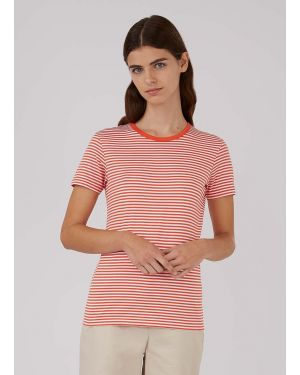 Women's Classic Cotton T-Shirt in Booth Red/White English Stripe
