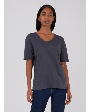 Women's Cotton Linen Relaxed Fit U-Neck T-Shirt in Charcoal