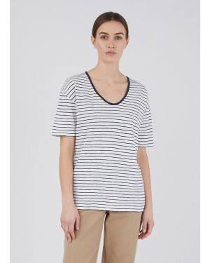 Women's Cotton Linen Relaxed Fit U-Neck T-Shirt in Off White/Navy Stripe