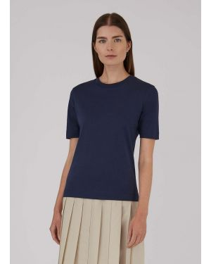 Women's Cotton Interlock Mid-Sleeve T-Shirt in Navy