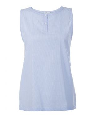 Women's Cotton Vest in Light Blue Micro Gingham