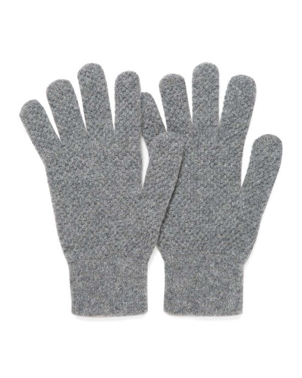 Lambswool Textured Gloves in Mid Grey Melange