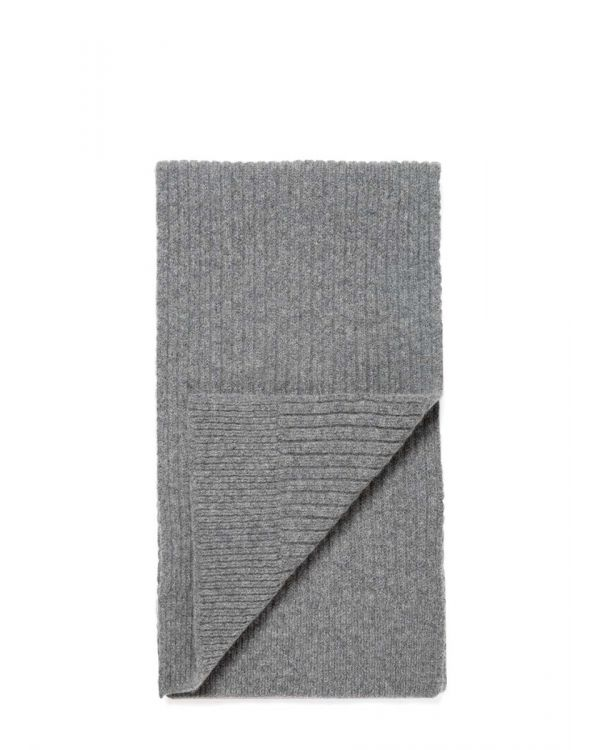 Lambswool Rib Scarf in Mid Grey Melange