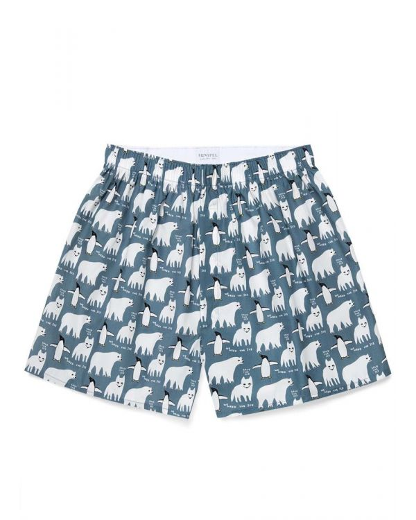 David Shrigley and Sunspel Printed Cotton Boxer Shorts in Save the Ice