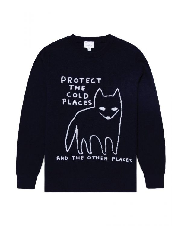 David Shrigley and Sunspel Lambswool Arctic Fox Jumper in Navy
