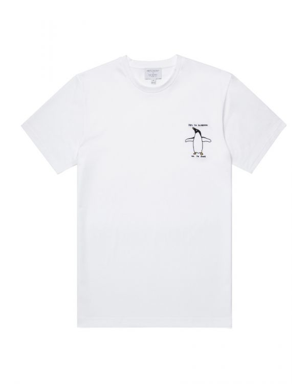 David Shrigley and Sunspel Cotton Penguin Embroidered T-Shirt in White