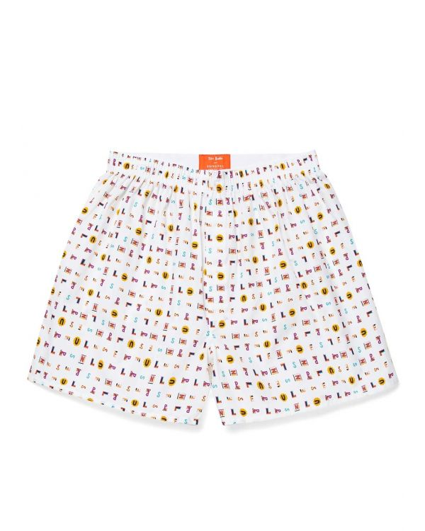 John Booth and Sunspel Men's Printed Cotton Boxer Shorts in Letters