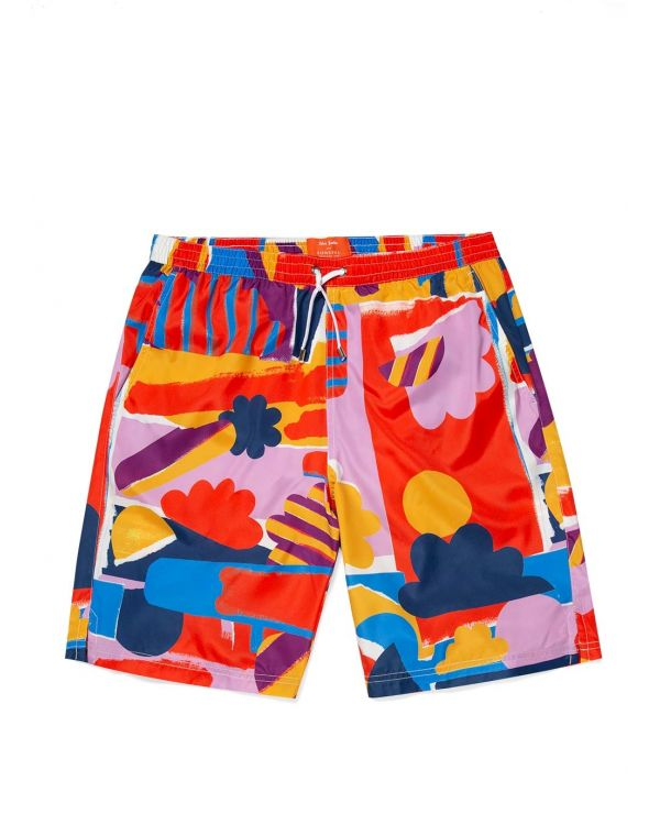 John Booth and Sunspel Men's Upcycled Marine Plastic Drawstring Swim Short in Sun & Clouds