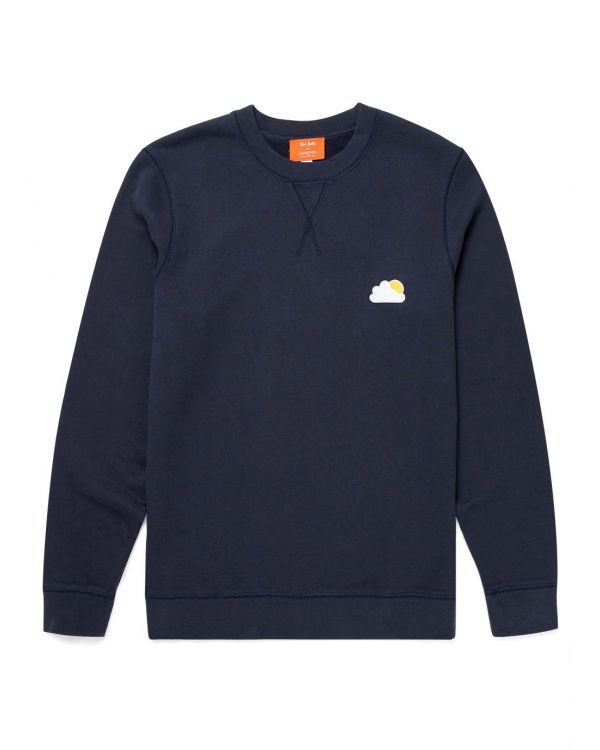 John Booth and Sunspel Men's Sun and Cloud Patch Loopback Sweatshirt in Navy