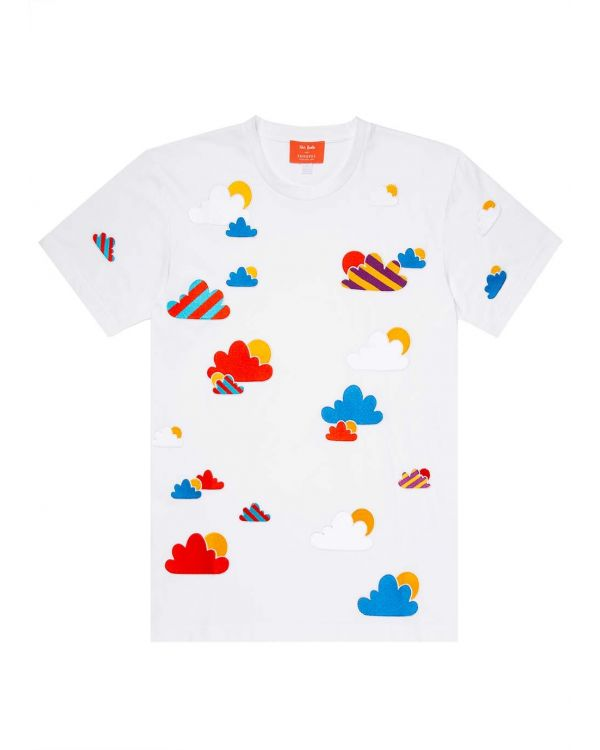 John Booth and Sunspel Men's Sun and Cloud Embroidered T-Shirt in White