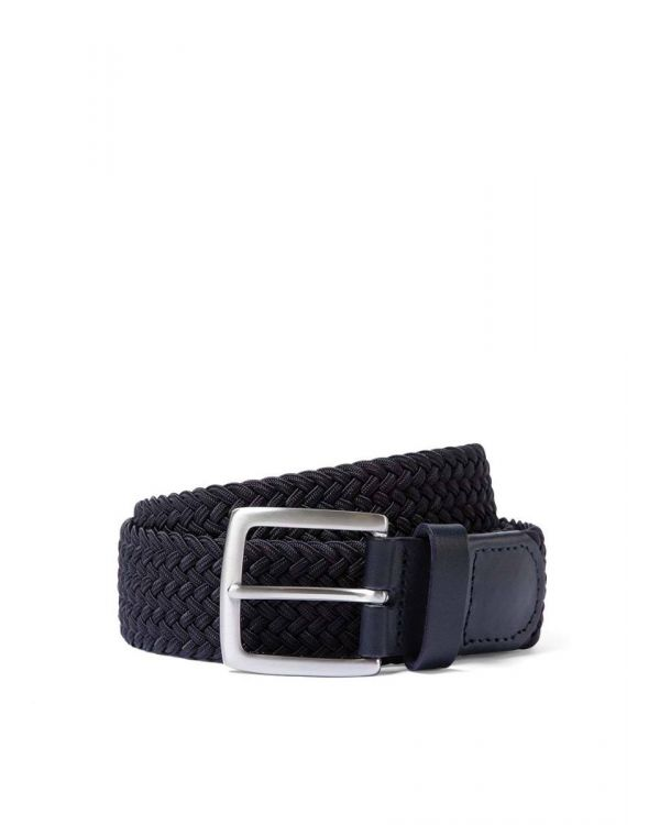 Elasticated Braided Belt in Navy