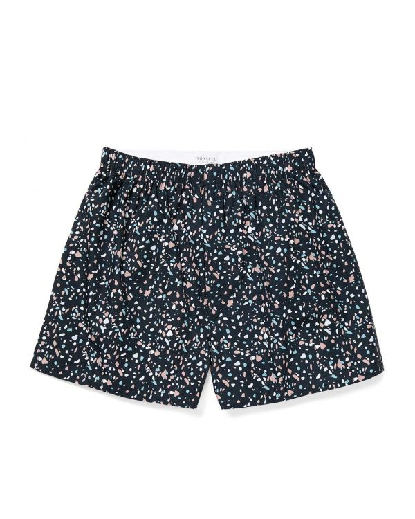 Men's Printed Cotton Boxer Shorts in Navy Terrazzo