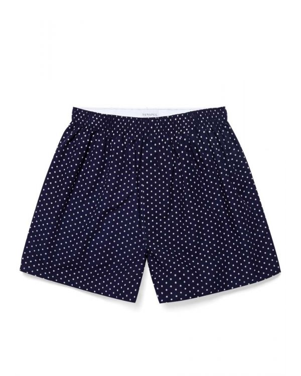 Men's Printed Cotton Boxer Shorts in Navy/White Micro Star