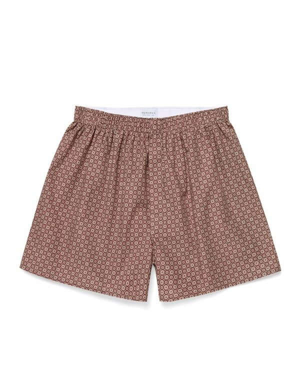 Men's Printed Cotton Boxer Shorts in Merlot Geo